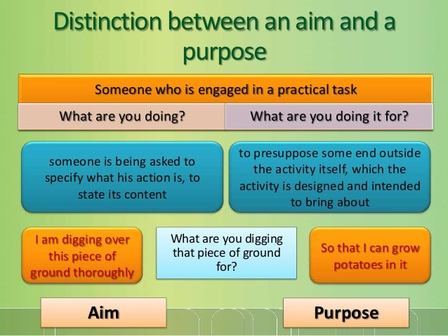 Distinction between an aim and a purpose Someone who is engaged in a practical task What are you doing?  What are you doin...