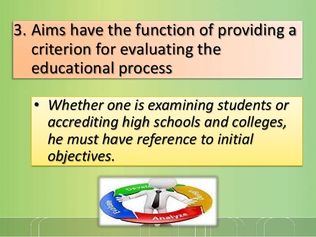 3. Aims have the function of providing a criterion for evaluating the educational process • Whether one is examining stude...
