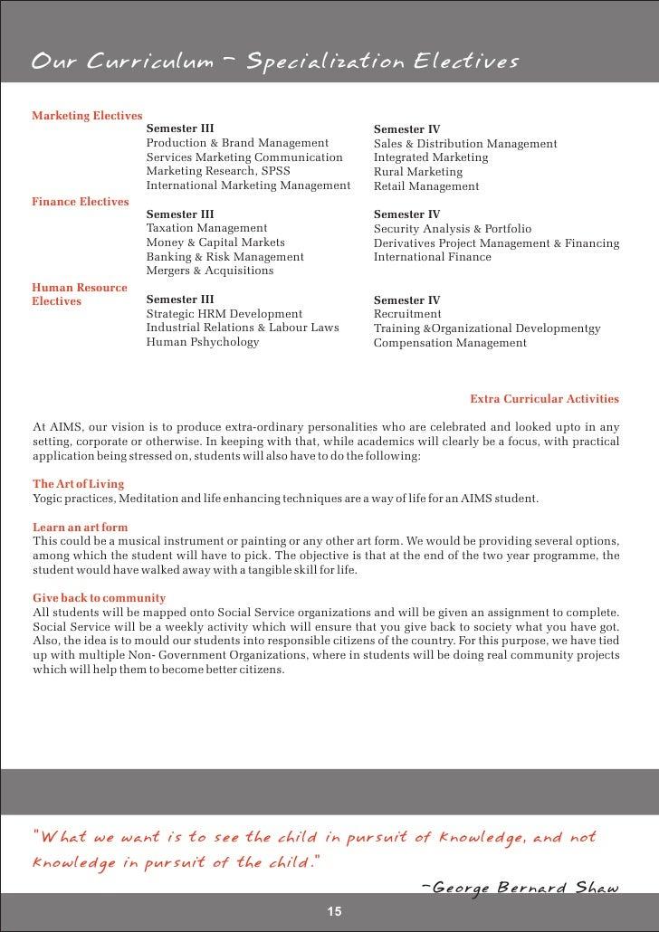Aims Institute of Management Studies - Prospectus 2009 - 11