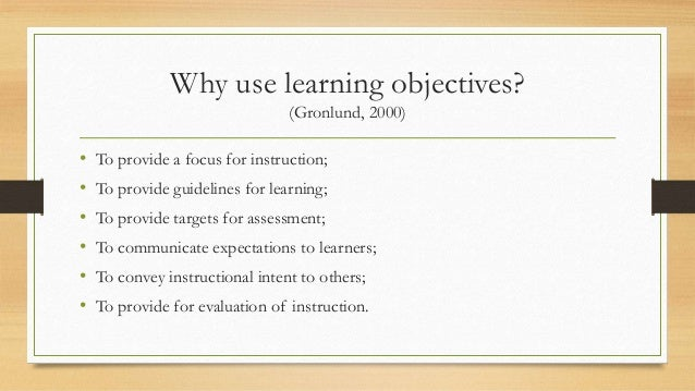 instructional goals and objectives examples