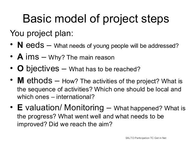 Basic model of project steps You project plan: • N eeds – What needs of young people will be addressed? • A ims – Why? The...