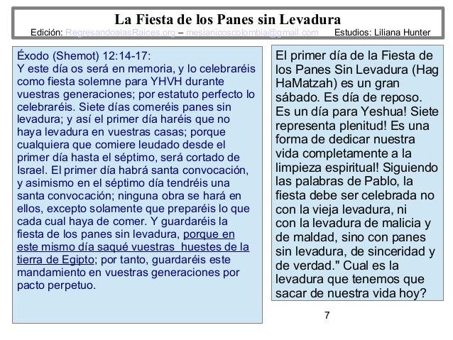 7 La Fiesta de los Panes sin Levadura Edición: RegresandoalasRaices.org – mesianicoscolombia@gmail.com Estudios: Liliana H...
