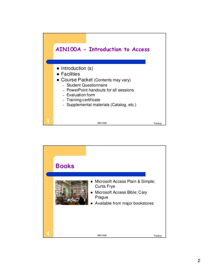 AIN100A Microsoft Access Level 1 Slide 3