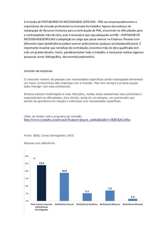 A inclusão de PORTADORES DE NECESSIDADES ESPECIAIS - PNE nas empresasdemonstra a importância da inclusão profissional no m...