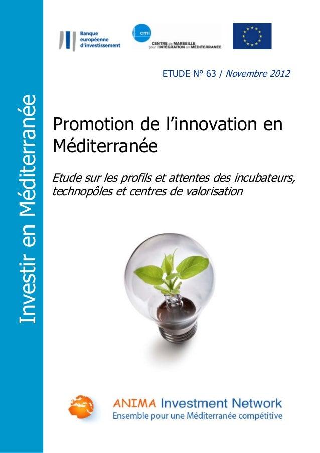 Investir en Méditerranée  ETUDE N° 63 / Novembre 2012  Promotion de l'innovation en Méditerranée Etude sur les profils et ...