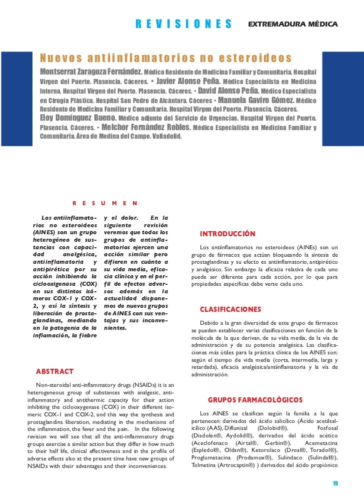 R E V I S I O N E S                        EXTREMADURA MÉDICA     Nuevos antiinflamatorios no esteroideos     Montserrat Z...