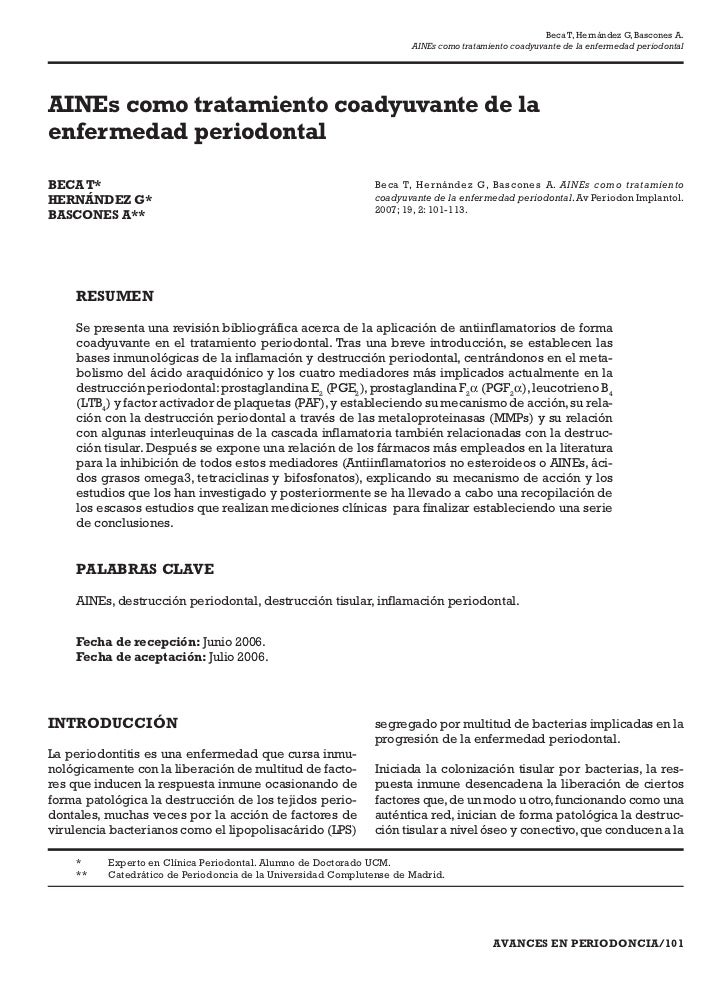 Beca T, Hernández G, Bascones A.                                                                      AINEs como tratamien...