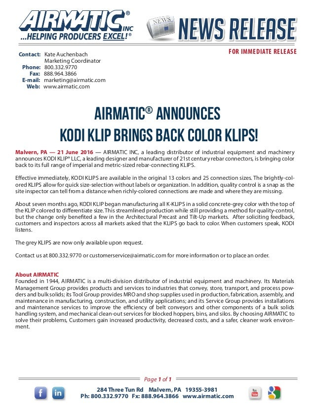 AI News Release Kodi Klip announces bringing color back!