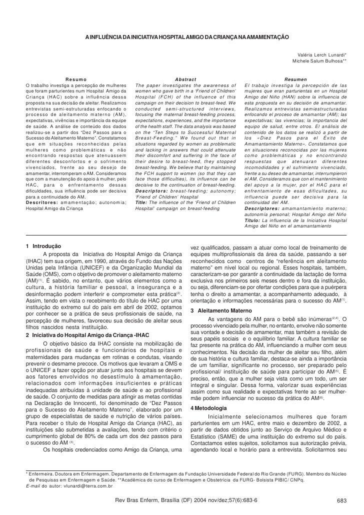 A INFLUÊNCIA DA INICIATIVA HOSPITAL AMIGO DA CRIANÇA NA AMAMENTAÇÃO                                                       ...