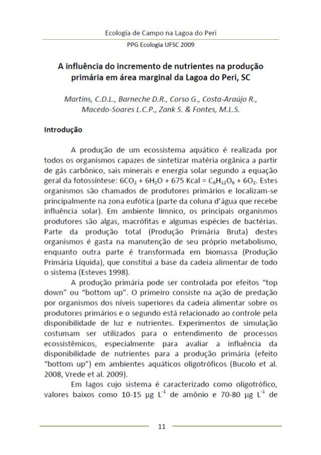 A influência do incremento de nutrientes na produção primária em área marginal da lagoa do peri, sc.