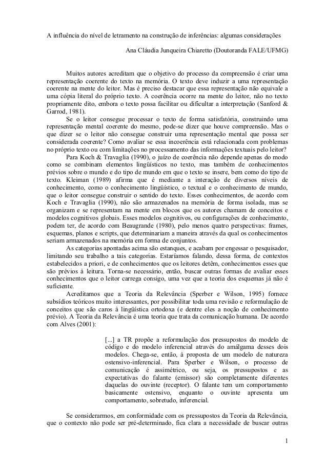 A influência do nível de letramento na construção de inferências: algumas considerações                             Ana Cl...