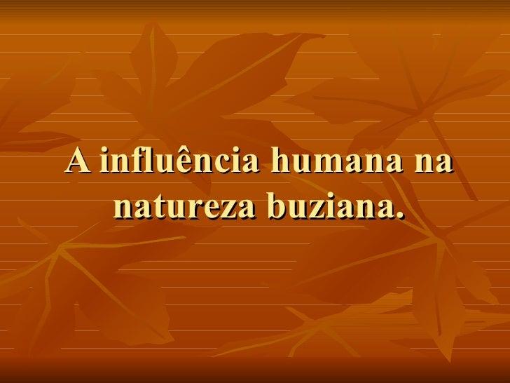A influência humana na natureza buziana.