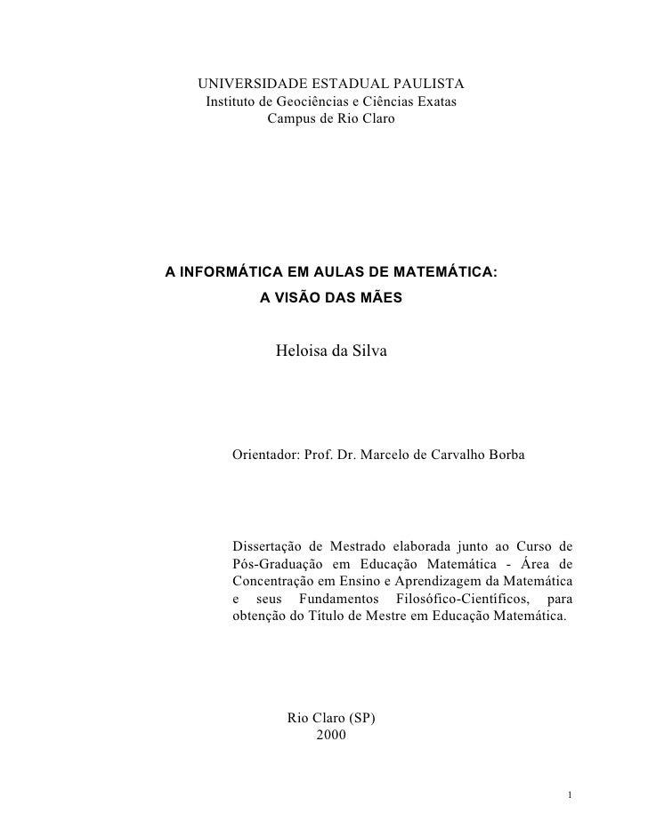 UNIVERSIDADE ESTADUAL PAULISTA    Instituto de Geociências e Ciências Exatas               Campus de Rio ClaroA INFORMÁTIC...