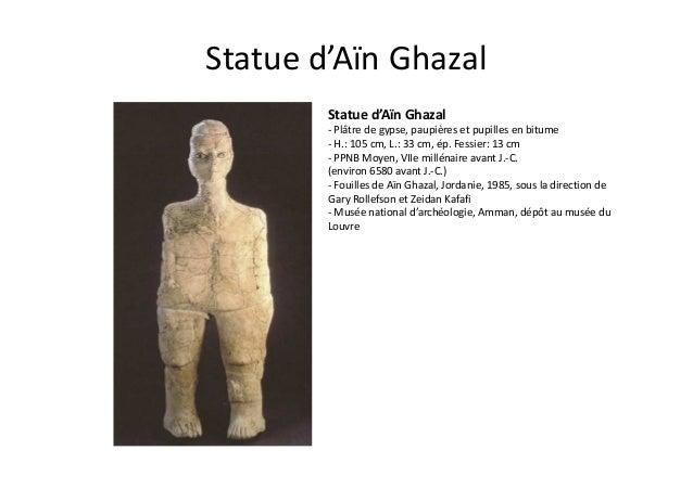 Statue d'Aïn Ghazal Statue d'Aïn Ghazal - Plâtre de gypse, paupières et pupilles en bitume - H.: 105 cm, L.: 33 cm, ép. Fe...