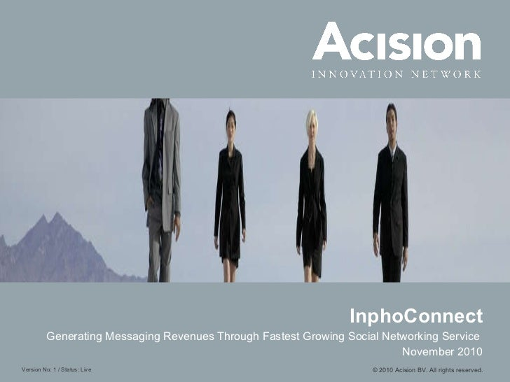 InphoConnect Generating Messaging Revenues Through Fastest Growing Social Networking Service   November 2010 © 2010 Acisio...