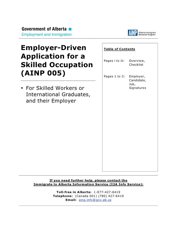 Employer-Driven                             Table of Contents  Application for a                           Pages i to iii:...