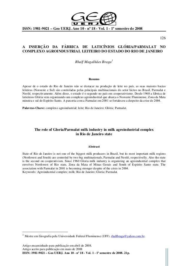 ISSN: 1981-9021 – Geo UERJ. Ano 10 - nº 18 - Vol. 1 - 1º semestre de 2008 126 Artigo encaminhado para publicação em abril ...