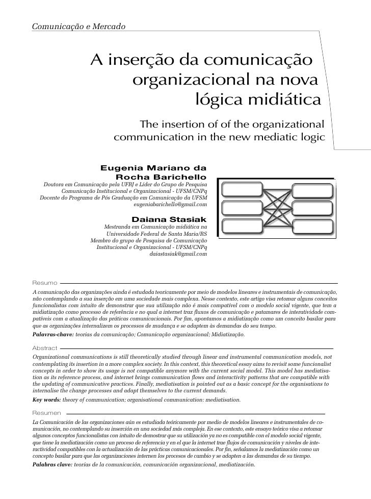 Comunicação e Mercado                             A inserção da comunicação                               organizacional n...