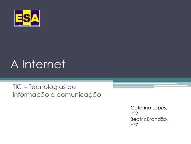 A InternetTIC – Tecnologias deinformação e comunicação                           Catarina Lopes,                          ...