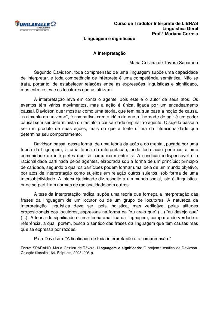 Curso de Tradutor Intérprete de LIBRAS                                                                      Linguística Ge...