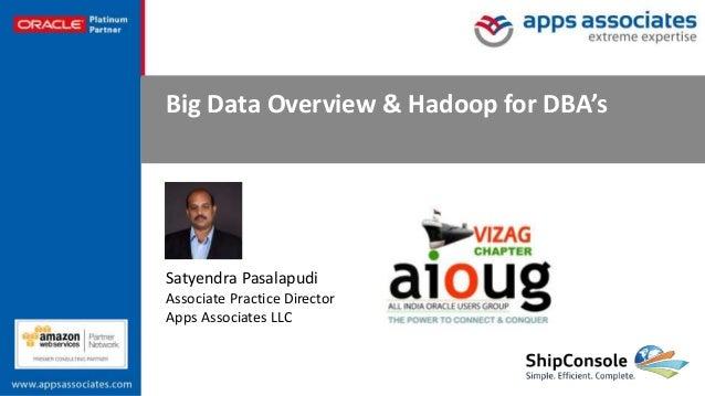 © Copyright 2016. Apps Associates LLC. 1 Big Data Overview & Hadoop for DBA's Satyendra Pasalapudi Associate Practice Dire...