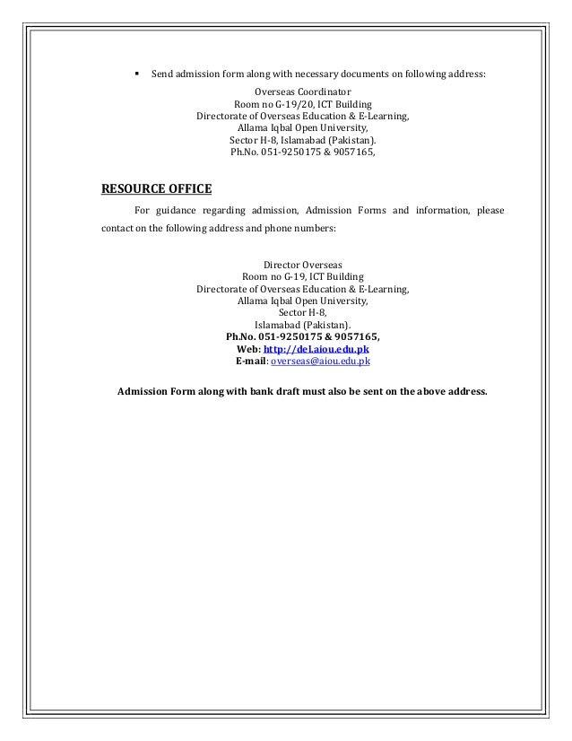 AIOU overseas prospectus for admissions spring 2014 (aioupk.com)