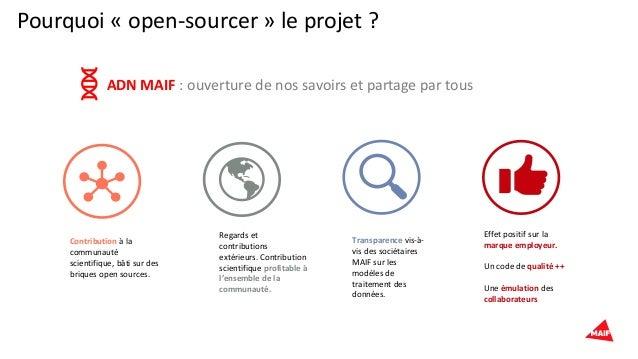Pourquoi « open-sourcer » le projet ? Contribution à la communauté scientifique, bâti sur des briques open sources. Regard...