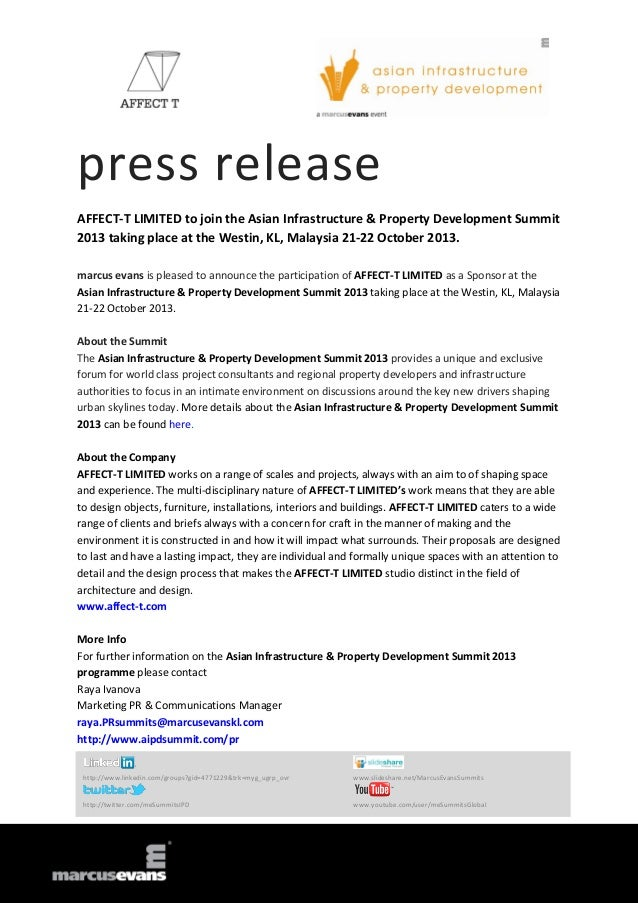 press release AFFECT-T LIMITED to join the Asian Infrastructure & Property Development Summit 2013 taking place at the Wes...