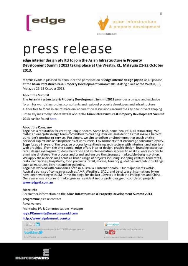 press release edge interior design pty ltd to join the Asian Infrastructure & Property Development Summit 2013 taking plac...