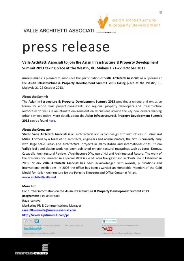 press release Valle Architetti Associati to join the Asian Infrastructure & Property Development Summit 2013 taking place ...
