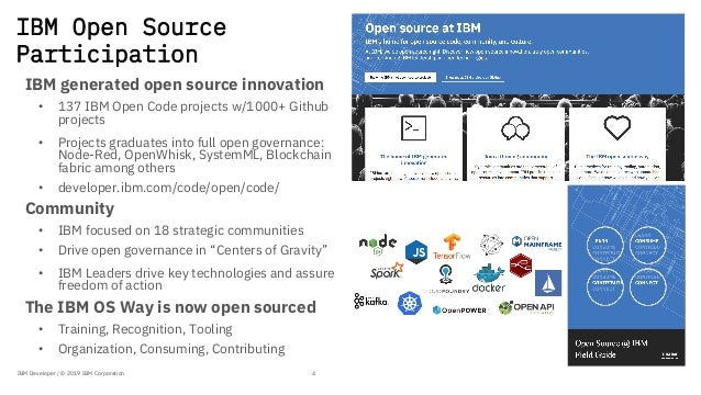 IBM Open Source Participation IBM generated open source innovation • 137 IBM Open Code projects w/1000+ Github projects • ...