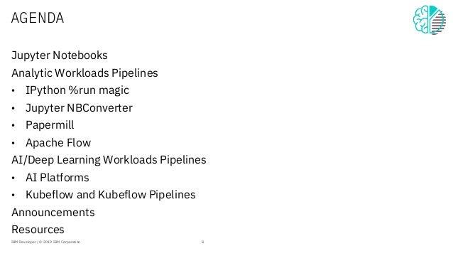 AGENDA Jupyter Notebooks Analytic Workloads Pipelines • IPython %run magic • Jupyter NBConverter • Papermill • Apache Flow...