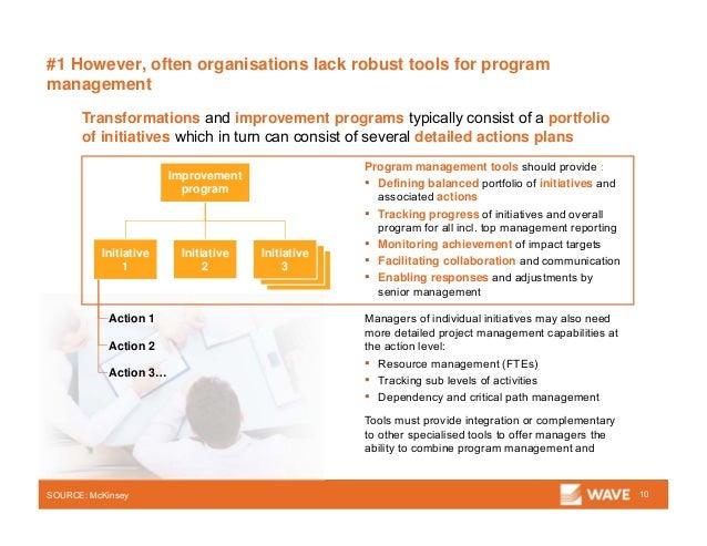 #1 However, often organisations lack robust tools for program management 10SOURCE: McKinsey Transformations and improvemen...