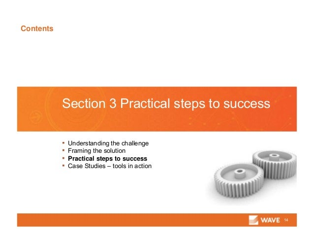 Contents 14 Section 3 Practical steps to success ▪ Understanding the challenge ▪ Framing the solution ▪ Practical steps to...