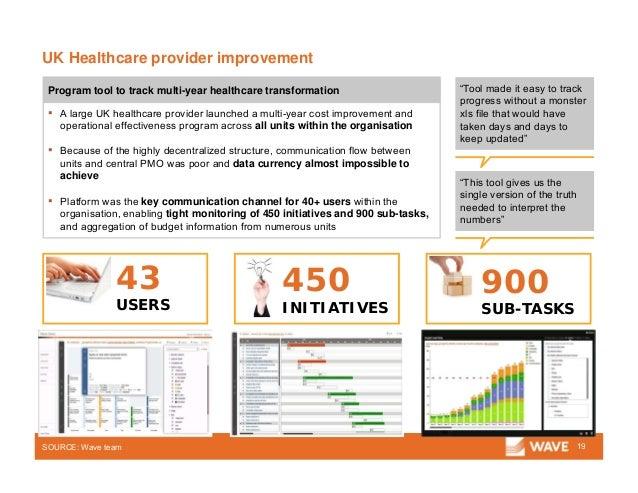 UK Healthcare provider improvement 19 ▪ A large UK healthcare provider launched a multi-year cost improvement and operatio...