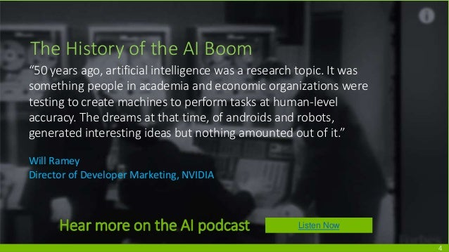 """The History of the AI Boom """"50 years ago, artificial intelligence was a research topic. It was something people in academi..."""