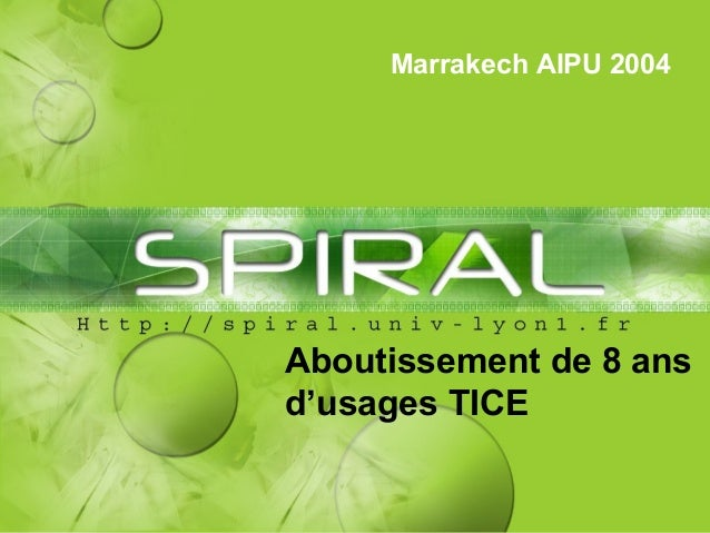 Marrakech AIPU 2004 Aboutissement de 8 ans d'usages TICE