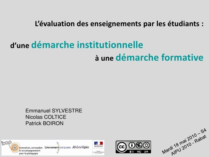 L'évaluation des enseignements par les étudiants:<br />d'une démarche institutionnelle<br />à une démarche formative<br /...