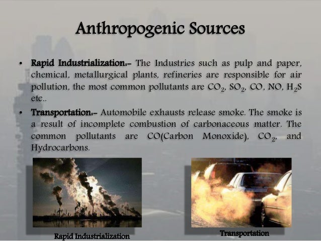 examples of anthropogenic pollutants For example, so2 and nox can react in the earth's atmosphere to form  particulate matter (pm)  the long-run history: when did man-made air pollution  begin.