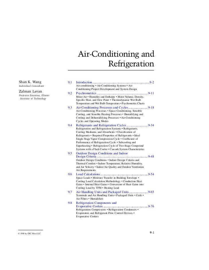 Air conditioning and refrigeration. mechanical engineering