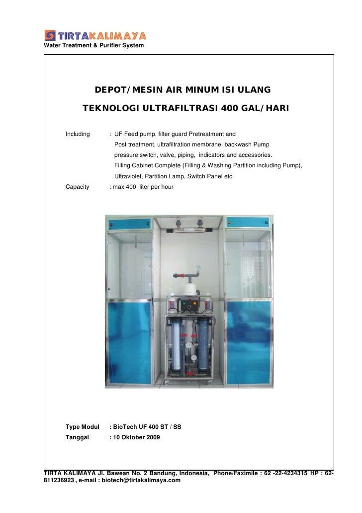 Water Treatment & Purifier System                        DEPOT/ MESIN AIR MINUM ISI ULANG               TEKNOLOGI ULTRAFIL...
