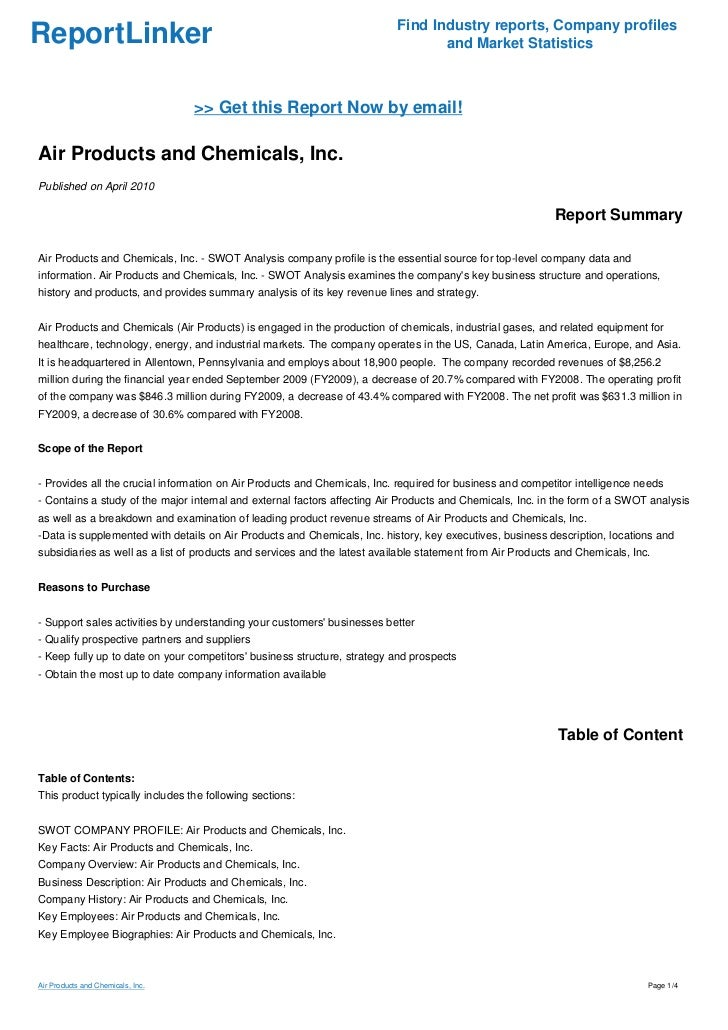 Air Products and Chemicals Inc. SWOT Analysis, Competitors & USP