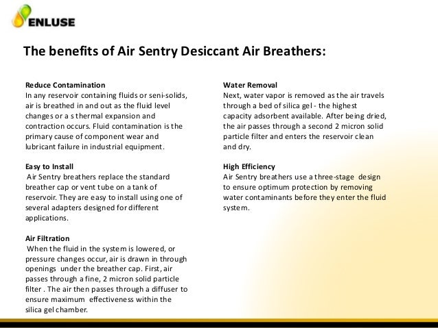 Air sentry breathers - first line of defense in