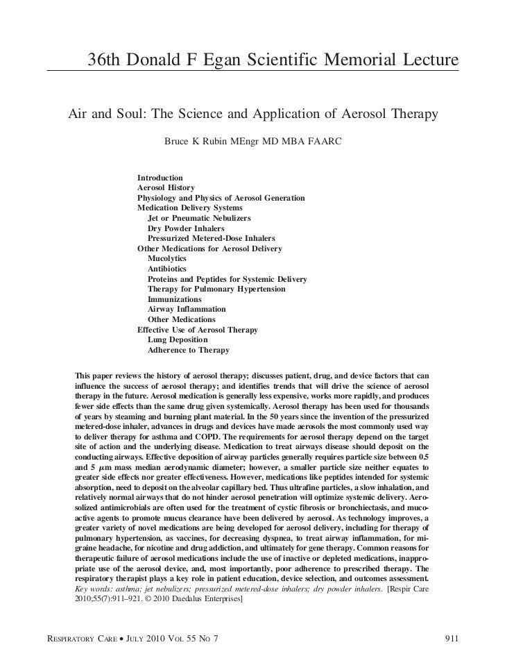 36th Donald F Egan Scientific Memorial Lecture    Air and Soul: The Science and Application of Aerosol Therapy            ...