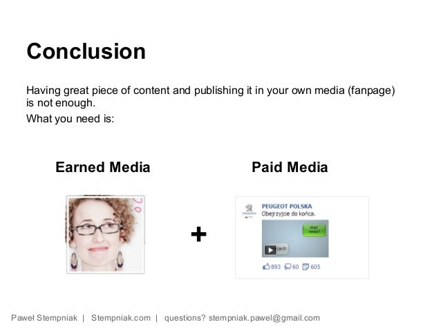 Conclusion   Having great piece of content and publishing it in your own media (fanpage)   is not enough.   What you need ...
