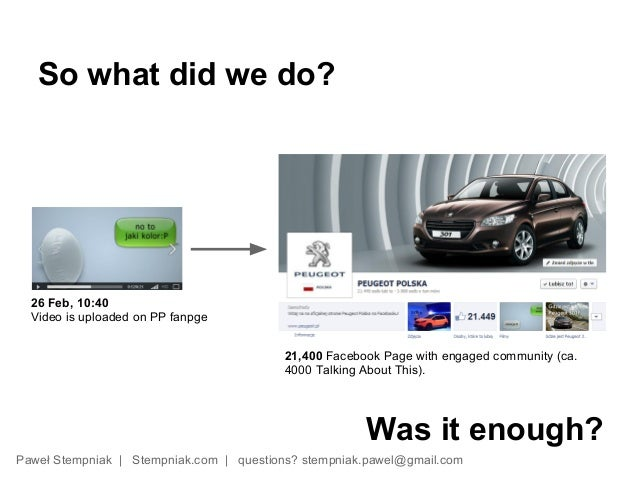 So what did we do?  26 Feb, 10:40  Video is uploaded on PP fanpge                                          21,400 Facebook...