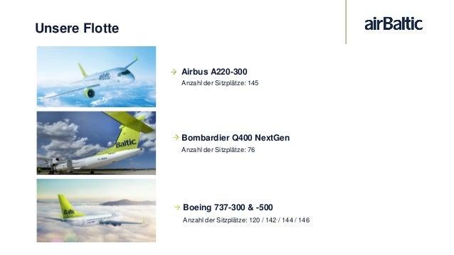 Airbus A220-300 14x in der airBaltic-Flotte 145 Sitze 2-zu-3 Bestuhlung Sitzplatzabstand: 76,2cm Breiterer Mittelsitz erhö...