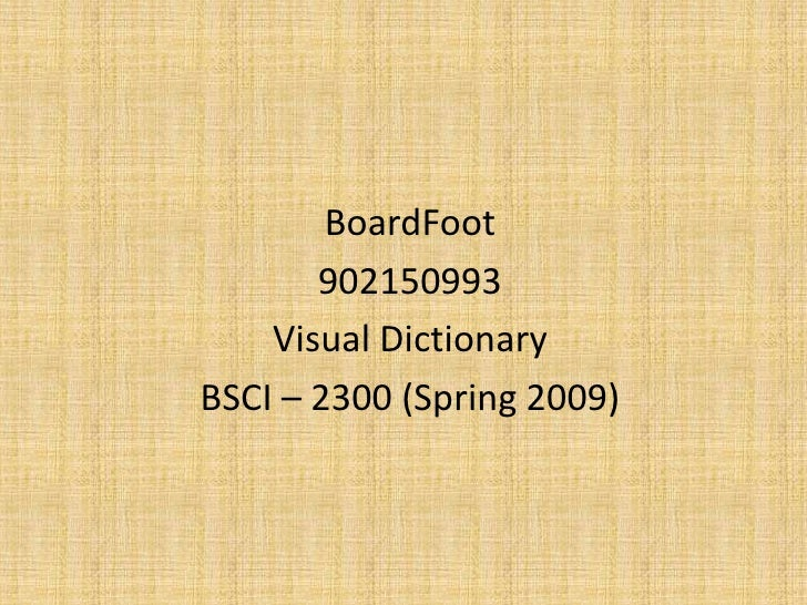 BoardFoot        902150993     Visual Dictionary BSCI – 2300 (Spring 2009)