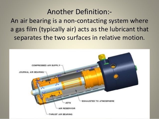 Another Definition:- An air bearing is a non-contacting system where a gas film (typically air) acts as the lubricant that...