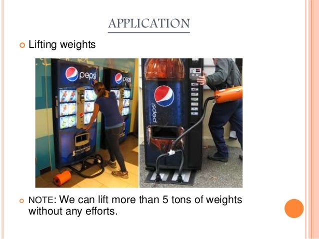 APPLICATION  Lifting weights  NOTE: We can lift more than 5 tons of weights without any efforts.